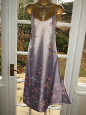 Vintage M&S Glossy Floral Satin Poly Slip Dress Negligee Nightie Gown UK14