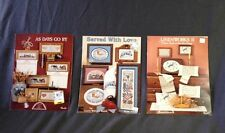 Lot Of Three Different Counted Cross Stitch Chart Booklets-FREE SHIPPING!