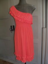 New Womens Sexy One Shoulder Ruffle ING Dress Size Small Bright Red/Orange