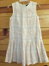 *BURBERRY* Girls CUTE!!! White Linen Dress with Check Print Pleated Skirt Size 4