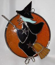 Stained Glass Halloween Witch in Moon Suncatcher