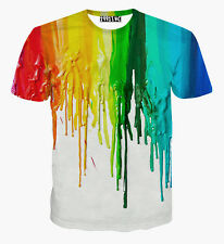 Fashion Rainbow Oil Painting 3D Print Women Men Short Sleeve Casual T-Shirt XL