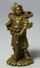 China Chinese Fengshui Brass Stand Sword Skanda Veda God Warrior Wei Tuo Statue