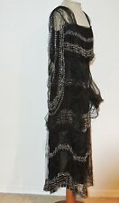 Edwardian - 1920's Black Tulle Beaded Dress w Angel Sleeves  MED