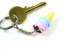 Novelty Cute 3D Ice Cream resin Keyring Key Handbag Buckle Charm a*