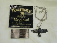Alchemy England 1977 'Black Raven' Pendant Necklace - Fine Pewter 26 Inch Chain