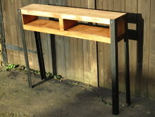 Bespoke steampunk rustic wood industrial steel console table shelf