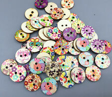 DIY 50X Wooden buttons Retro Flowers Mixed Color Fit sewing scrapbooking 20mm