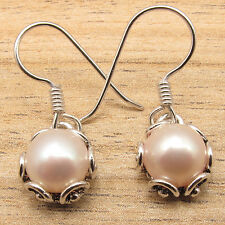 White PEARL Little Flawless Fit Earrings ! 925 Sterling Silver Plated Jewellery