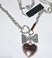 NWT Guess Silver & Rosegold Metals-Clear Stones Bow & Heart Charm Necklace