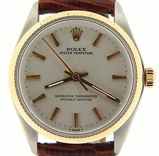 Mens Rolex 14K Yellow Gold/Stainless Steel Oyster Perpetual Silver Brown 1005