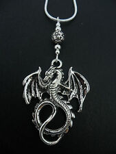 "A LOVELY TIBETAN SILVER  DRAGON THEMED  NECKLACE ON 18"" SNAKE CHAIN. NEW."