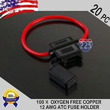 20 Pack 12 Gauge ATC In-Line Blade Fuse Holder 100% OFC Copper Wire Protection
