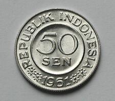 1961 INDONESIA Aluminum Coin - 50 Sen - BU gem UNC - lustre