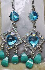 Teal Blue Crystal Heart Dangle Drop Chandelier Fashion Earrings