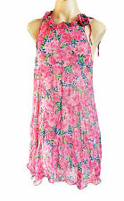 Ladies PUSSYCAT London pink multi floral chiffon dress M - UK size 12/14