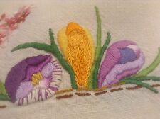Vintage Stunning Heavy Hand Embroidered Spring Flowers Cloth.
