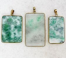 "3 Chinese Green & White JADEITE Jade Tablet Shape Pendants  (14.7 grams, 1.725"")"