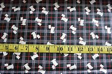 Black Scottish Terrier Dogs Toss Plaid Cotton Fabric Black Lewis & Irene Fabric