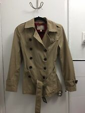 BANANA REPUBLIC Sz XS 0 2 Short Khaki Belted Cotton Trench Jacket Coat