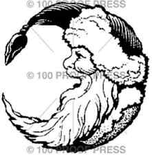 100 PROOF PRESS RUBBER STAMPS SANTA MOON CHRISTMAS STAMP