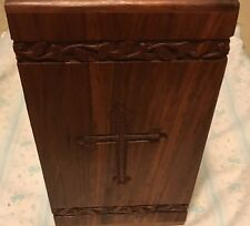 Solid rosewood hand carved cross adult size urn