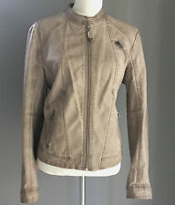 Pre-owned PROMOD UK Beige Leather Look Jacket Size 16