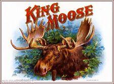 1909 King Moose Smoke Vintage Cigar Tobacco Box Crate Label Print