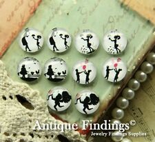 10PCS 12mm Handmade Mix Design Glass Dome Cabochon Cameo Cabs MCH003C