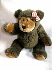 """VINTAGE  Brown JOINTED TEDDY BEAR w/Bow  9"""" sitting, 12"""" standing"""
