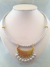 Unusual Handmade Necklace By MENGIZ - Silver Silk Rope,Gold Plated Findings