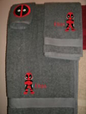 Dead Pool Kid Personalized 3 Piece Bath Towel Set  Comic Book Your Color Choice