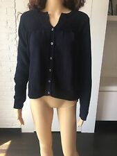 PRADA Women New Blue 100%COTTON Long sleeve Cardigan Sweater Made in Italy