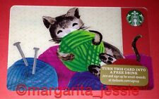 "STARBUCKS US GIFT CARD ""KITTEN AT PLAY"" 2015 NEW NO VALUE 6113 CAT W/YARN U.S."