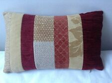 "SHABBY CHIC GOLD RED TERRACOTTA CHENILLE PATCHWORK CUSHION 17"" x 10"""