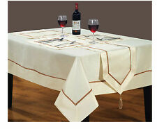 Tablecloth Dining Room Faux Silk Red Cream Black White Placemat Runner All Sizes