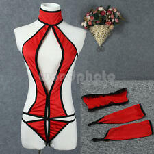 Sexy Exotic Black Red Babydoll Teddy G-String Collar Blindfold Open Crotch ❤Aus❤