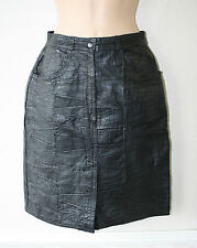 Stylish Sexy Black Leather High Waist Pencil Knee Lenght Skirt Size S L 19.7