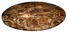 "30"" Marble Coffee Center Side Table Top Round Rare Inlay Handmade Decor H2493B"