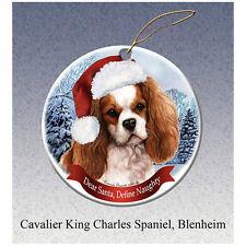 Cavalier King Charles Spaniel Howliday Porcelain China Dog Christmas Ornament