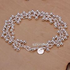 Silver Wedding pretty women lady charms Grapes Beads chain cute Bracelet bangle
