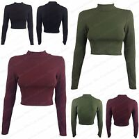 NEW WOMENS LADIES CASUAL SEXY LOOK RIBBED STRETCH POLO NECK LONG SLEEVE CROP TOP