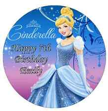 Disney Princess Cinderella Personalised Cake Topper Edible Wafer Paper 7.5""