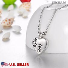 Dog Paw Print on My Heart Pet Cremation Jewelry Keepsake Memorial Urn Necklace
