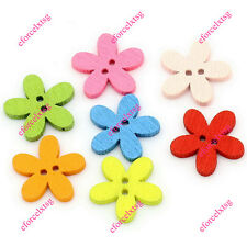 Colorful Flower Wood Buttons DIY 2 Holes Flatback Decoration Sewing Scrapbooking