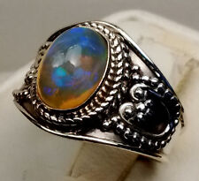 GORGEOUS PRECIOUS ETHIOPIAN OPAL CUSTOM MADE RING STERLING SILVER