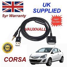 Vauxhall Corsa Series 3GS 4 4S iPhone iPod USB & Aux Audio Cable black