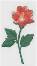 Red Rose Flower w/Stem Embroidery Applique Patch