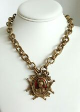 """Coro Pegasus """"The Royal Scots"""" Red Enamel Medal Goldtone 18"""" Necklace Signed"""
