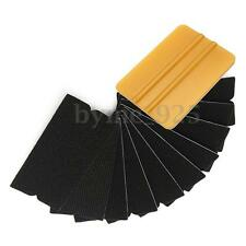 10pcs Vinyl Wrap Kit Gold Squeegee Applicator Tool Replaceable Felt Edge Tips